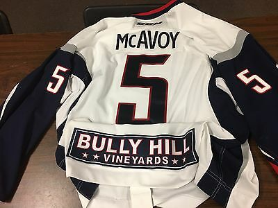 Spencer McAvoy #5 Elmira Jackals ECHL 2014-15 Game Used Hockey Jersey Size 58