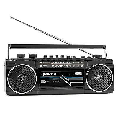 Auna Portable Stereo Audio Speaker Sys Boombox Fm Radio Cassette Deck Usb Black