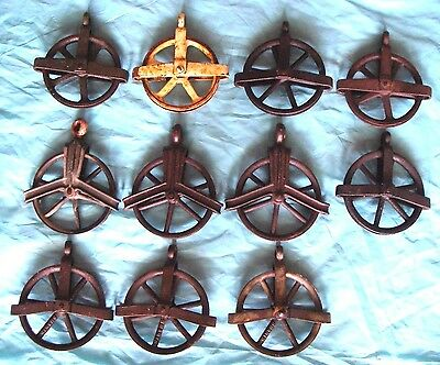 """11 Antique Vintage Cast Iron Barn Hay Trolley Pulley 5"""" Dia Wheel -Works -GC"""