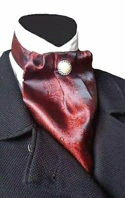 Burgundy Red Paisley Silky Cravat Jabot Victorian Steampunk Regency Wedding