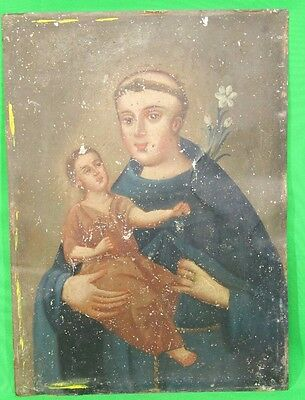 Antique 1800s San Antonio de Padua Tin Mexican Retablo