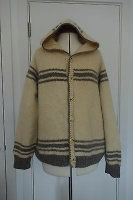 Vintage Oversized Super Chunky Pure Wool Hand Knit Hoodie Cardigan Boho XL Pixie