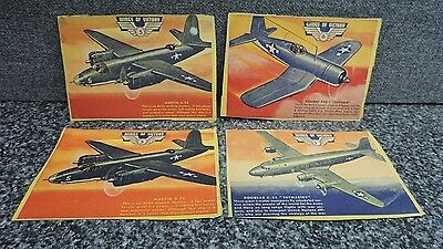 Wings of Victory Military Cereal Card Lot 1940's Airplane 4x Martin Douglas