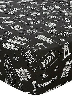 Disney Star Wars Black White Single Fitted Bed Sheet Boy Kid Children Room Decor
