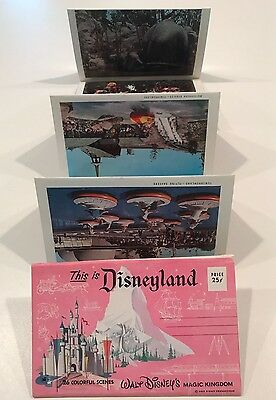 VIBRANT VINTAGE This Is Disneyland 26 Color Scene Postcard Booklet DISNEY 1960s