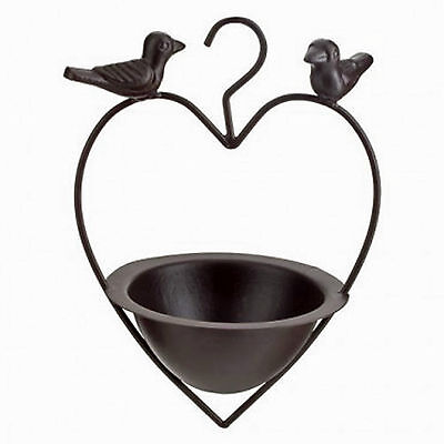Decorative Bird Feeder Hanging Bath Cast Iron Garden Heart  New