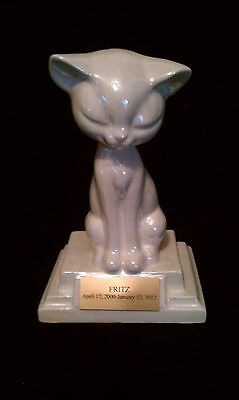 Pet Urn/BIG HEAD Cat Cremation/memorial/small on Plate stand!!!!