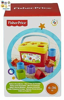 Fisher Price Basics Baby's First Colorful Blocks Toddler Learning Toy For Kids