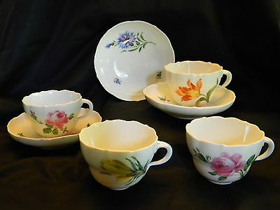 Meissen Cups (4) & Saucers (3) With Flowers