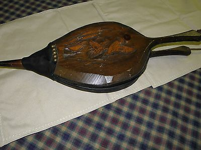 Antique Wood, Leather, Brass, Copper Fireplace Bellows Blower Fire Starter