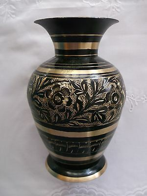 Lovely Vintage Indian Black Brass Gold etched  Vase