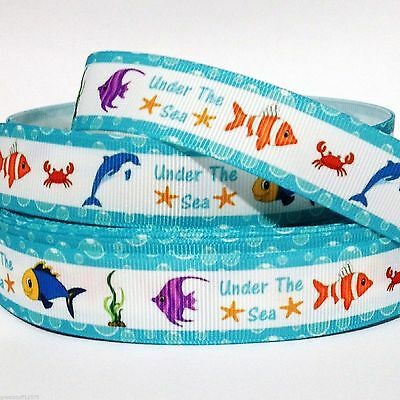 """GROSGRAIN Ribbon Under the Sea Fish 7/8"""" PRINTED for Hairbows F7 USA SELLER"""