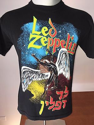 Vintage 80s LED ZEPPLIN T-Shirt SWAN SONG ZoSo HEBREW Israel VTG Small IV Stampa