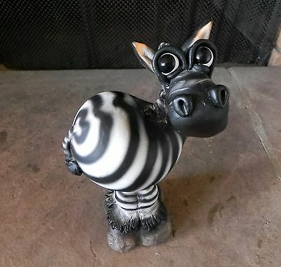South African Pottery ZEBRA FIGURINE ANIMAL SCULPTURE Crazy Clay