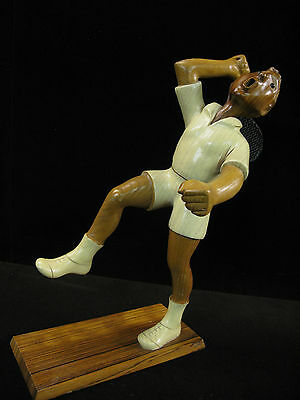 Romer - The Tennis Player - Vintage Wood Carved Figure Italy