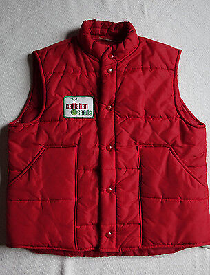 Vtg King Louie Pro Fit Red Puffer Vest Callahan Seeds 70's 80's Trucker L Work