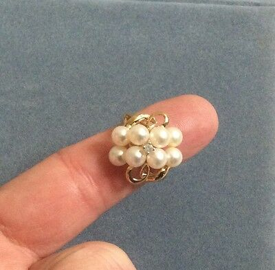 10K Yellow Gold Cluster Pearl Ring with Diamond Accent - Size 7
