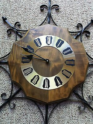 VTG Wrought Iron Wood Brass Wall Clock Mid Century Mod Black Ornate Metal Frame