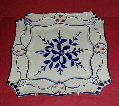 """RCCL Portugal Blue & White Pierced Square Wall Plate (7.50"""")"""
