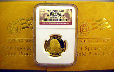 2010-W Jane Pierce $10 NGC Pr 70 UC First Spouse Proof 1/2 oz Gold Coin + OGP
