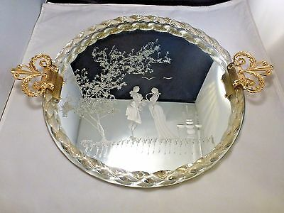 Murano Venetian Glass Etched Mirror Vanity Tray Twisted clear  Rope Trim 14 1/4""