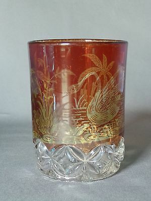 EAPG Elson Glass Co Amber Stained Tumbler Hero pattern with Feeding Swan Etching