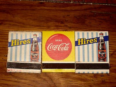 Vintage Soda Advertising Matchbooks-Hires Root Beer and Coca Cola