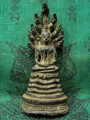 Buddha Rattana Naga Prok Statue Protect Wealth Luck Ancient Thai Amulet Talisman
