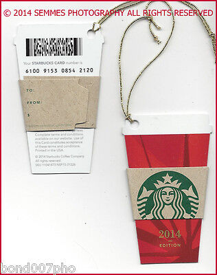 STARBUCKS Christmas Mini Red Cup Gift Card Die Cut Ornament 2014 *FREE SHIPPING*