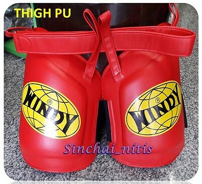 Windy Thigh Pads Red Pu Leather Protector  Muay Thai Mma K1 Training