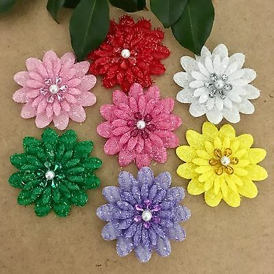 7pcs Glitter Felt Padded Flowers W Rhinestone Doll Bow Craft Appliques #633