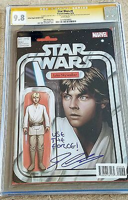 "Star Wars #1 Luke Variant CGC SS 9.8 Signed Cassaday ""USE THE FORCE"" 1ST DAY ISS"