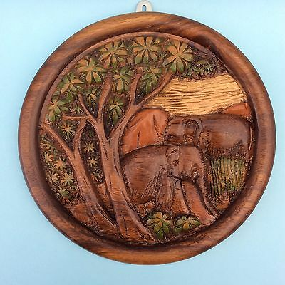 VINTAGE CARVED TEAK WOOD ELEPHANTS ROUND WALL PLAQUE Handcraft India Sri Lanka
