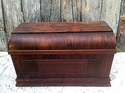 Antique Treadle Sewing Machine Wood Coffin Top Cover Box Lid