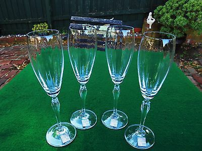 Mikasa Austrian Crystal Champagne Wine Flute Glasses Spring Petals