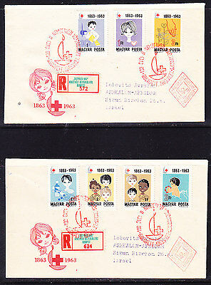 Hungary 1963 Red Cross TWO REGISTERED First Day Covers. Israel