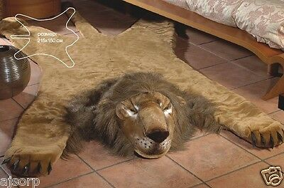 "New Fake Faux Fur LION skin lionskin Rug Plush Large Size 215x150cm 84,6"" 59"""