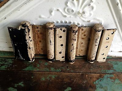 2 Vintage hinges large heavy cast iron painted barn country door salvage parts