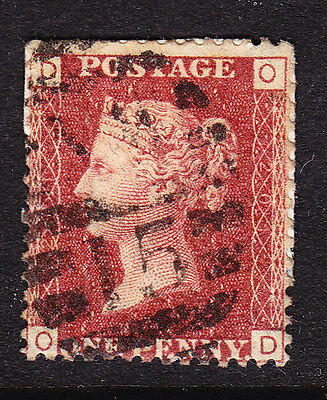 GB  1858 - QV - 1d Red Plate 201 - Position D-O on paper