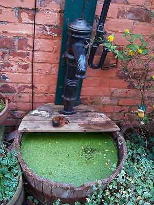 Genuine Antique Cast Iron Water Pump & Whisky Barrel Garden Feature