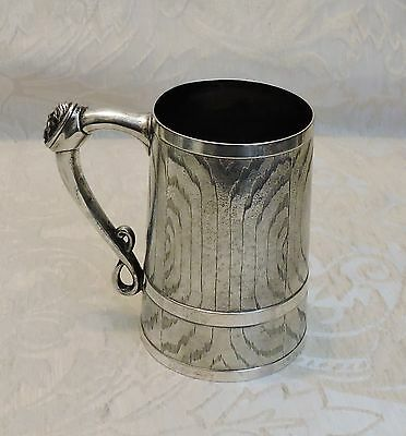 Victorian Tankard Wine Vat Shaped Fenton Bros Engraved with Wood Detais Boccale