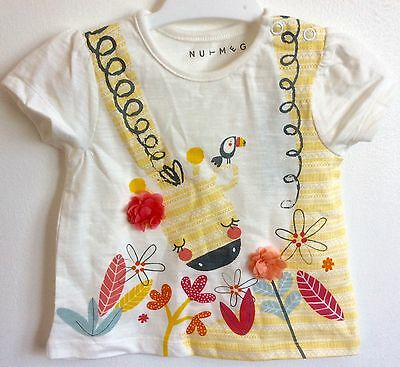 Nwt Giraffe Textured Flowers Tshirt Top Baby Girl 12-18M Cute Kawaii Party Gift