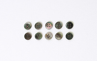 10 X 11mm Grey REAL Genuine Shell Mother of Pearl MOP BUTTONS - Shirts blouse