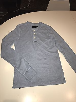 Industrie: Boys Light Blue Long sleeve T-Shirt/Top With Buttoned Collar- Size 12