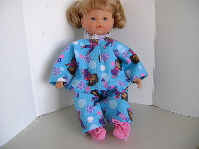 """Handmade Pyjamas in Turquoise & Pink for all 17""""-19"""" Baby Dolls & Reborn Dolls"""
