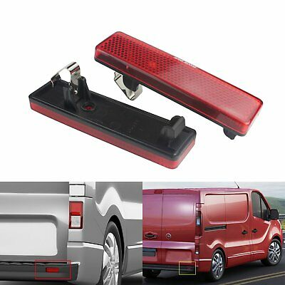 2 Red Lens Rear Bumper Reflector For Vauxhall Opel Nissan Renault Master Trafic