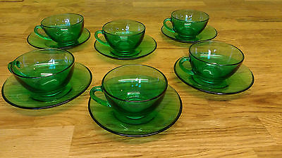 Vintage France ARCOROC 6 Green Glass Cups and Saucers