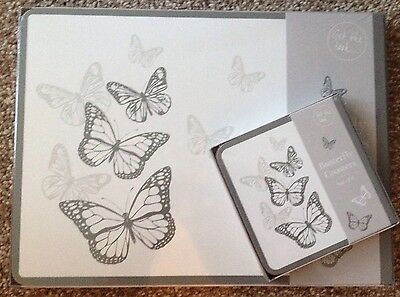 Set Of 4 Butterfly Placemats & Coasters, Table, Kitchen, Dining, New
