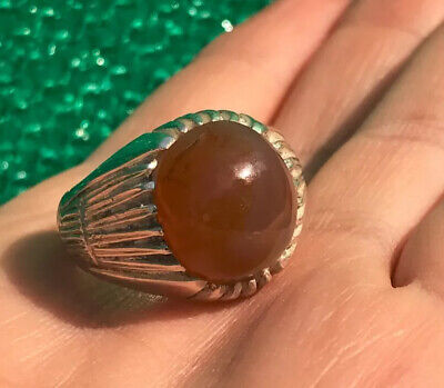 100% Natural Yemeni Brown Sulimani AQEEQ 925 Sterling Sliver Ring US Size 11.5