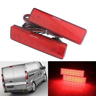 2x Red LED Rear Bumper Reflector Signal Tail Light Opel Vauxhall Renault Nissan